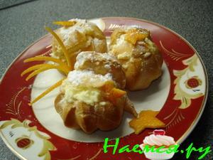 Профитроли с апельсиновым желе и взбитыми сливками, пошаговый рецепт с фото