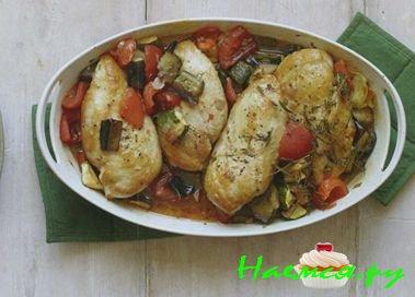 жареная курица с баклажанами